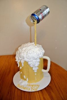 Sal's My version of the mug of beer cake I have seen on here so many times! The only problem was that I couldnt get it very sturdy. I had cake boards, straw supports, centre dowel. Cakes For Men, Cakes And More, Men Cake, Fancy Cakes, Cute Cakes, Beautiful Cakes, Amazing Cakes, Cake Cookies, Cupcake Cakes