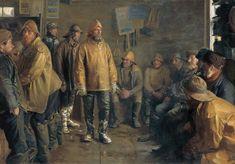Na mercearia do comerciante em um dia de chuva quando não há pesca. Óleo sobre tela. 1891. Michael Ancher (1849-1927). Encontra-se no Museu Skagens em Skagen, Dinamarca..
