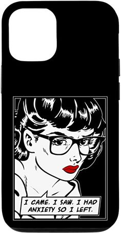 Amazon.com: iPhone 12/12 Pro I Came I Saw I Had Anxiety So I Left Pop Art Girl Quote Case Samsung Galaxy Gift, Samsung Cases, Vintage Comic Books, Vintage Comics, Feminism Quotes, Pop Art Girl, Buy Iphone, Retro Humor, Text Quotes