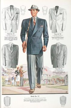 Very 30's—40's. Double-breasted, wide lapels, wide shoulders, no vent. Two-tone shoes.