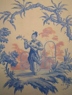 Warner Graves Decorative and Fine Arts - detail painted in the style of Jean Pillement Chinoiserie Motifs, Chinoiserie Wallpaper, Chinoiserie Chic, Oriental Print, China Art, China Painting, Decoration, Drawings, Chinese Pagoda