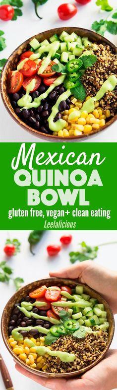 This nutritious vegan Mexican Quinoa Bowl features a deliciously creamy avocado salsa and Tricolor Quinoa from Bob's Red Mill. BobsQuinoa AD Quinoa Bowl | Mexican Quinoa | Vegan | Recipe | Healthy Eating (Vegan Recette Quinoa)