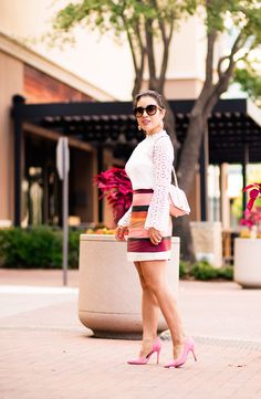 cute & little | petite fashion blog | pink moto jacket, white crochet lace blouse, striped mini skirt, pink suede pumps, minkoff love crossbody | spring fall outfit