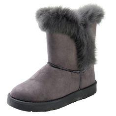 Allegra K Womens Winter Plush Mid-Calf Snow Boots