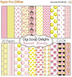 50% OFF TODAY Pink Yellow Digital Papers Candy, Cupcakes, Ice Cream, Jelly Beans, M&Ms, for Digital Scrapbooking  #scrapbooking #digiscrapdelights #scrapbookingkits #lemon #pink