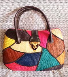 Vintage Ratan MultiColored Handbag by PopsCandy on Etsy, $30.00