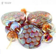 Lampwork Beads Honeycomb Kalypso Set  handmade glass