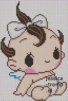 Bebê Kawaii Cross Stitch, Cross Stitch Baby, Alpha Patterns, Baby Patterns, Cross Stitch Designs, Cross Stitch Patterns, Cross Stitching, Cross Stitch Embroidery, Pixel Crochet Blanket