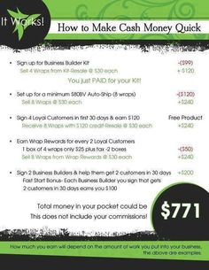 How to make money as an It Works! Distributor! With the holidays coming up, any extra money helps! Make the change today and make the money you want for the holidays!