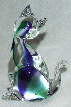 "Vintage Cute Murano Italian Art Glass Venezia 6"" Cobalt Green Cat Figurine 