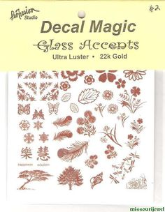 """Mini 22k Gold Decals """"Sampler #2"""" for glass fusing - Flowers Trees Snowflakes #Profusion"""