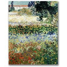 Van Gogh 'Garden in Bloom' Canvas Art ($55) ❤ liked on Polyvore featuring home, home decor, wall art, flower wall art, flower canvas painting, van gogh flower paintings, canvas home decor and vincent van gogh flower paintings