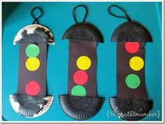 Types of Transportation traffic light with paper plates