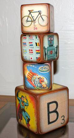 Vintage Blocks for Boys Features Robots Superman by ChickenDoodles