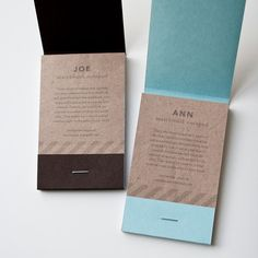 joe and ann / matchbook notepads by one fine dae by onefinedae, $19.00