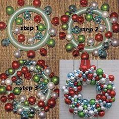 Make an ornament ball wreath with a styrofoam wreath foam, hot glue and ornaments.