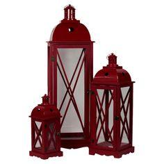 3 Piece Delaney Lantern Set red