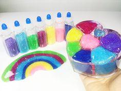 DIY How To Make Glitter Slime Rainbow 반짝이 수제 액괴 무지개 만들기
