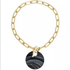 NWT Michael Kors Goldtone Black Agate Disk Neckle Authentic, Brand New with Tags…