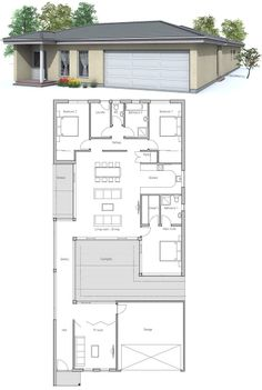 Modern house to narrow lot. Closed courtyard, garage, three bedrooms. Courtyard will give privacy in crowded neighborhoods.