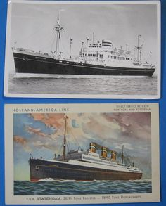 2 Holland America ships, 1950's era  SS Westerdam & Statendam