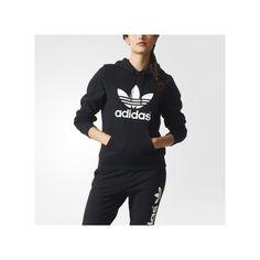 adidas Trefoil Hoodie ($65) ❤ liked on Polyvore featuring tops, hoodies, black, black pullover hoodie, black fleece pullover, fleece hoodie, sweatshirts hoodies and black hoodie