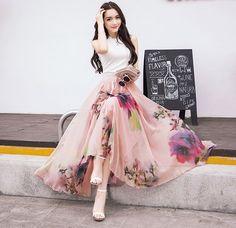 Hot Elegant Fancy Flower Print Skirt Long Women Fashion Peacock Feather Elastic Waist Ultra-long Big Bottom Full Chiffon Skirt