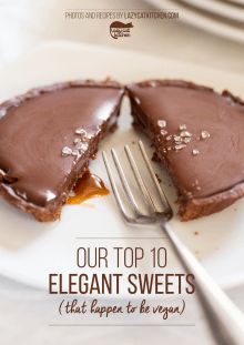 Our vegan chocolate and salted caramel tarts are a to-die-for dessert. They are made up of shortcrust chocolate pastry, salted caramel and dark chocolate ganache layers. (Perhaps the pastry would work with GF flour mix. Chocolate Pastry, Vegan Chocolate, Chocolate Ganache, Decadent Chocolate, Chocolate Muffins, Chocolate Orange, Vegan Desserts, Vegan Recipes, Dessert Recipes