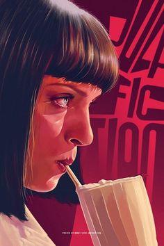 Pop Culture Illustration by Flore Maquin - Mia Wallace (Uma Thurman) in Pulp Fiction Classic Movie Posters, Movie Poster Art, Poster S, Canvas Poster, Best Movie Posters, Classic Movies, Mad Max, Mia Wallace, Cultura Pop