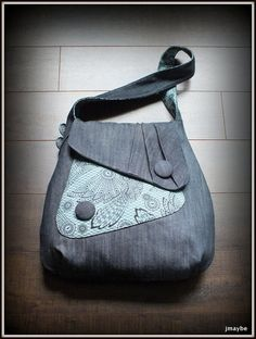 7 For All Mankind Denim Courier Bag with Gothic Print by Steady As She Goes
