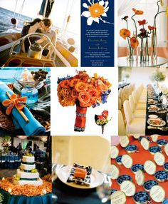 Autumn wedding inspiration with aqua blue, navy blue and orange. -- ohhh im into this scheme....