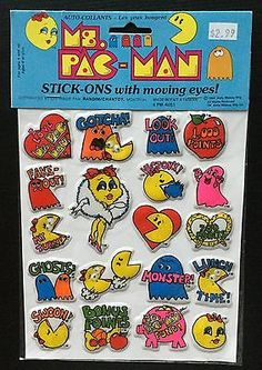 VINTAGE-1982-MS-PAC-MAN-PUFFY-STICKERS-WITH-GOOGLE-MOVING-EYES