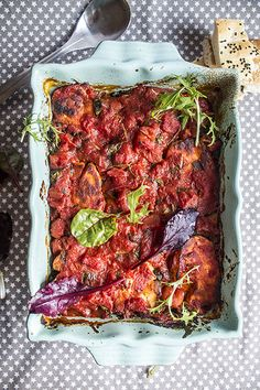 vegetarian casserole with halloumi and aubergine