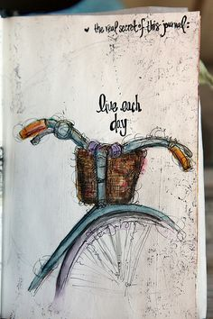 Ideas drawing simple doodle art journals mixed media for 2019 Journal D'art, Art Journal Pages, Art Journals, Bullet Journal, Arte Sketchbook, Bicycle Art, Bicycle Painting, Art And Illustration, Sketchbook Inspiration