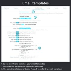 Email templates, open, modify and translate your email templates, use different variables for the email templates, use conditional statements and foreach loop for the email templates.
