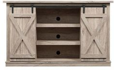 Farmhouse Sliding door Entertainment Center -- We can either build it or buy it for less (affiliate link)
