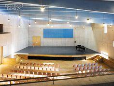 Auditorium Design Auditorium Architecture, Theatre Architecture, Auditorium Design, Interior Architecture, Schools Around The World, Blue Ceilings, Hall Interior, Hall Design, Space Interiors