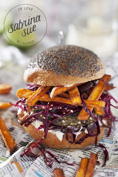 Lentil burger with sweet potato fries, lime mayo & red cabbage