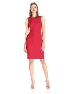 Calvin Klein Womens Sleeveless Round Neck Sheath in Lurex Scuba Red 4 ** For more information, visit image link.