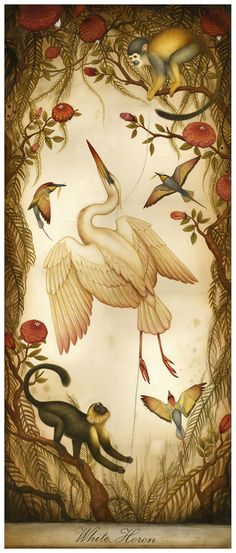 White Heron  - Limited Edition Print - Natural History Print Birds