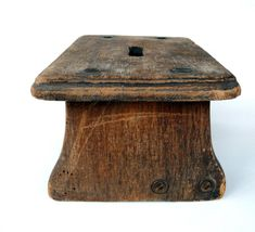 Strict Antique Old Primitive Wood Wooden Painted Black Top Spool Foot Footstool Stool To Assure Years Of Trouble-Free Service Benches & Stools Furniture