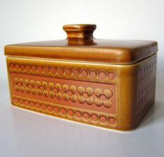 Vintage-Hornsea-Pottery-BUTTER-DISH-LID-Retro-Clappison-Saffron-Orange-Yello