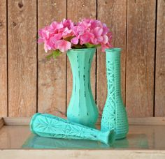 Set of 3 Mint Green Vases Shabby Chic Distressed Painted Vases Custom Colors Rustic Wedding Decor Rustic Wedding Decor