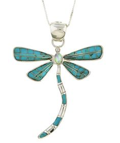 @Overstock - Dragonfly pendant features an eye-catching multi-gemstone pattern of lustrous green opal and turquoise inlayNecklace is crafted of fine sterling silverWith a box chain, you are free to keep this beautiful dragonfly with you all the timehttp://www.overstock.com/Jewelry-Watches/Sterling-Silver-Turquoise-Opal-Dragonfly-Necklace/2971421/product.html?CID=214117 $49.99