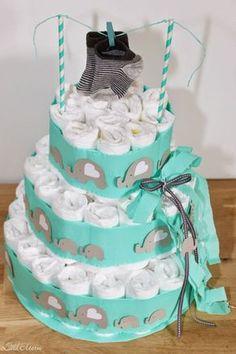 Baby Shower Kuchen, Diaper Cake Boy, Diaper Cakes, Diy Cake, Cakes And More, Baby Shower Gifts, Baby Boy, Children, Desserts