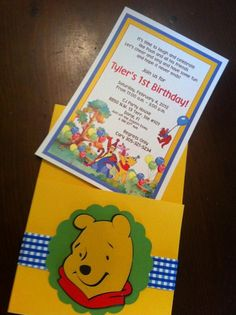 10 Winnie The Pooh and Friends Handmade Pocket Birthday Invitations with Envelopes