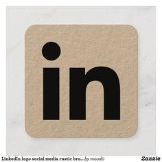 LinkedIn logo social media rustic brown kraft Calling Card