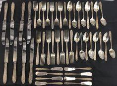 Vtg National Silver Company 48 pc. REPOUSSE Flatware Set ~STERLING~ NSC Hallmark  | eBay