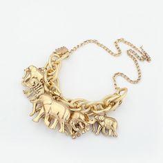 Multi Gold Elephants Chain Statement Necklaces & Pendants New Vintage for Women CX140 coupon