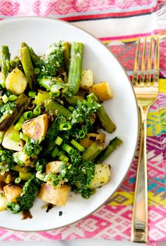 ASPARAGUS AND SWEET POTATO HASH WITH CHIMICHURRI via A House in the Hills